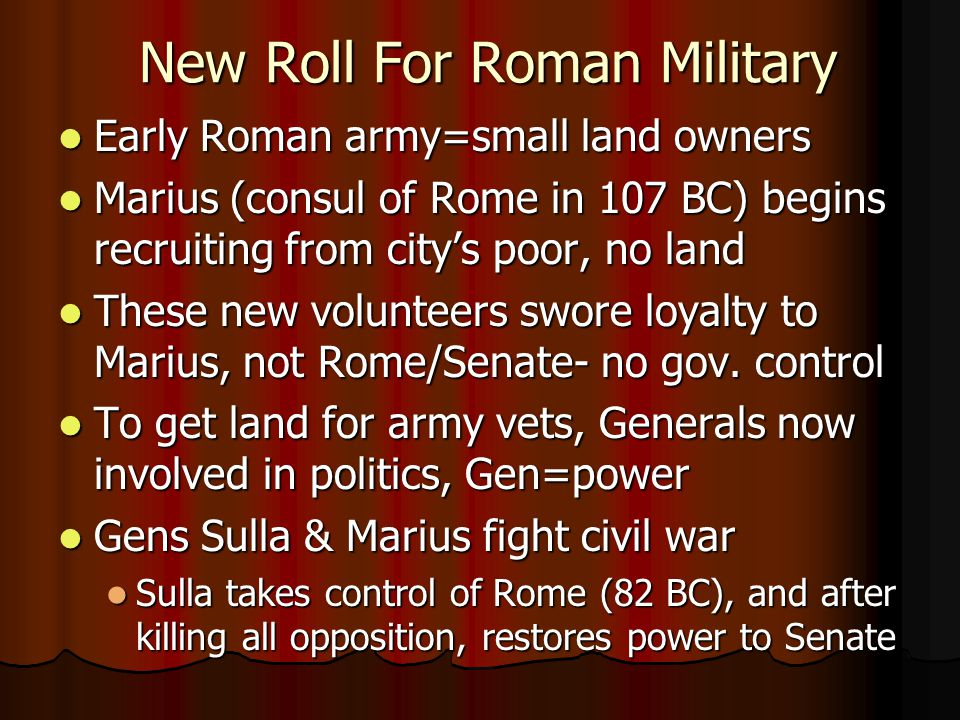 New Roll For Roman Military