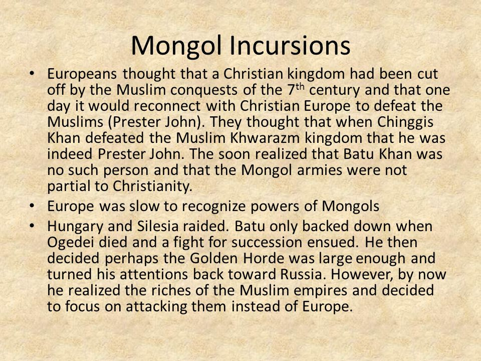 Mongol Incursions