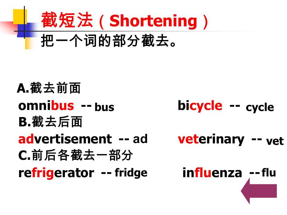 截短法(Shortening) 把一个词的部分截去。 omnibus -- bicycle -- B.截去后面