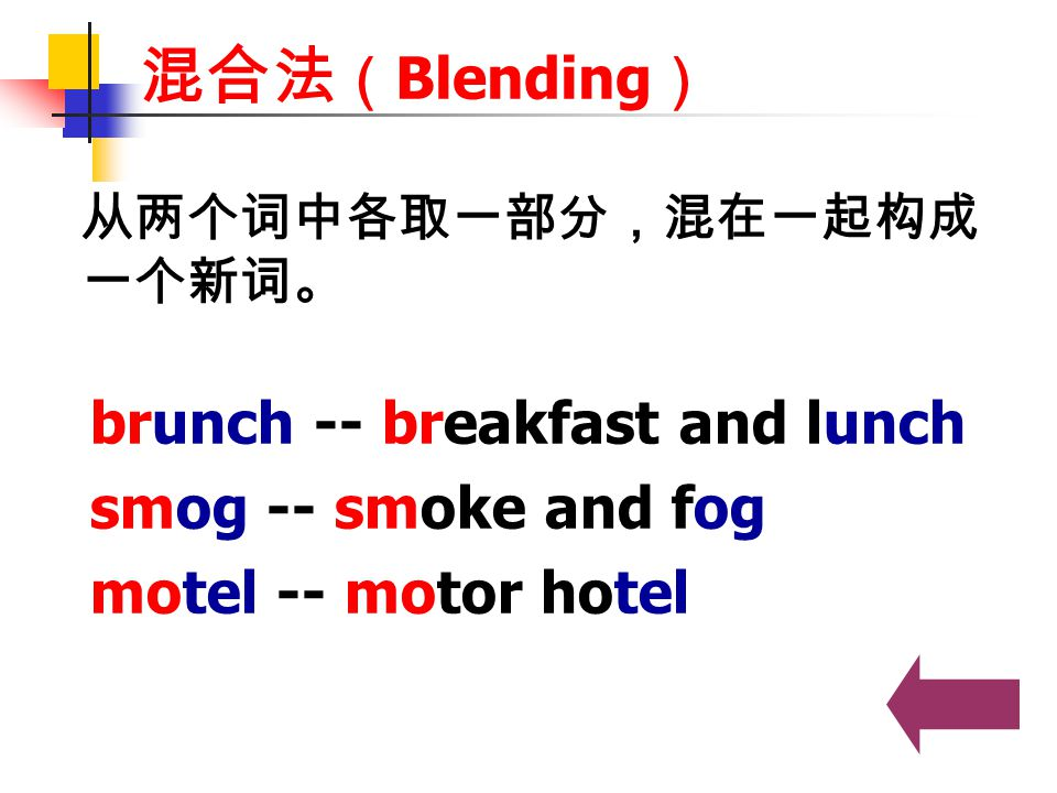 混合法(Blending) brunch -- breakfast and lunch smog -- smoke and fog
