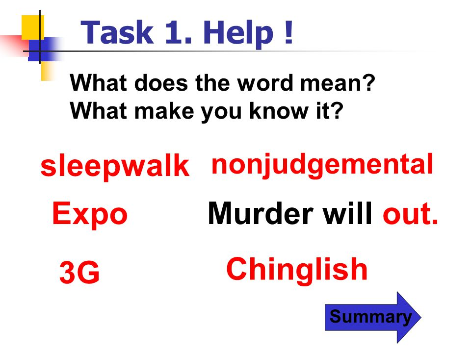 Task 1. Help ! sleepwalk Expo Murder will out. Chinglish 3G