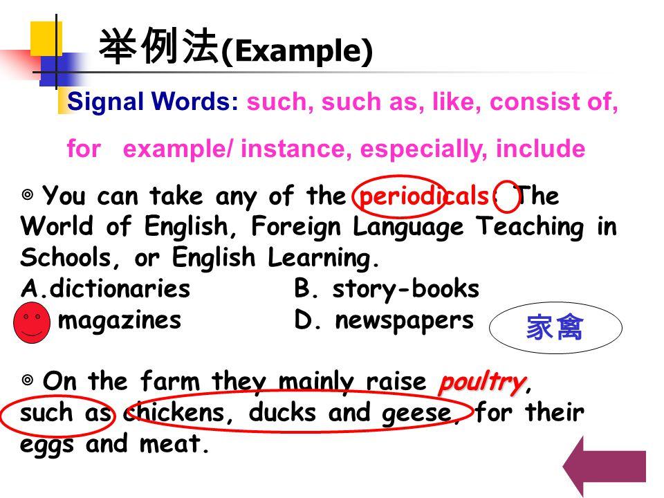 举例法(Example) 家禽 Signal Words: such, such as, like, consist of,
