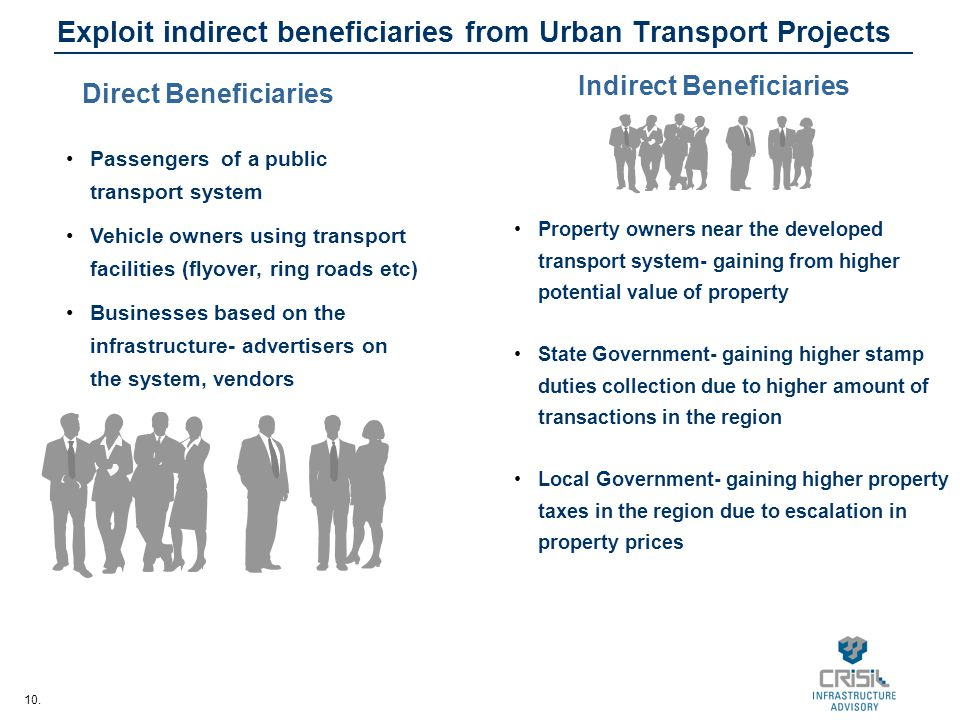 Exploit indirect beneficiaries from Urban Transport Projects