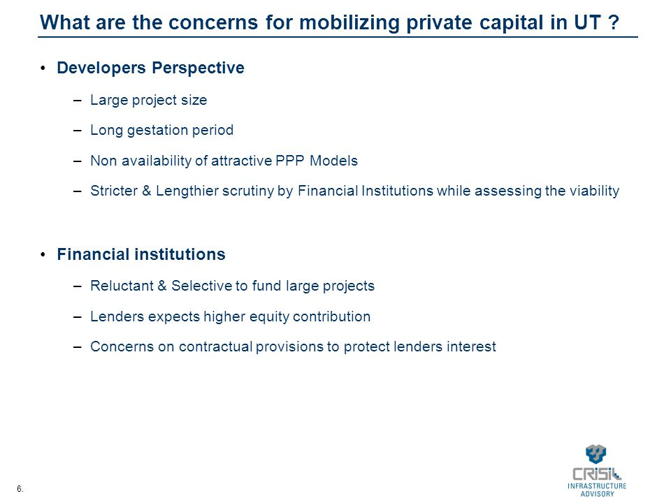 What are the concerns for mobilizing private capital in UT