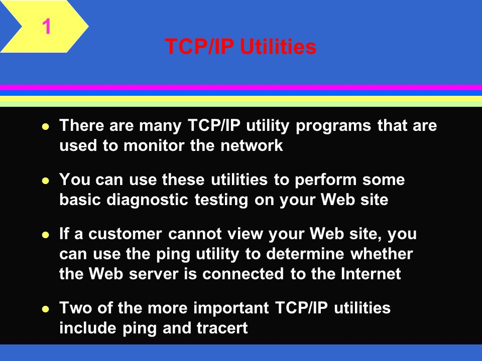 1 TCP/IP Utilities. There are many TCP/IP utility programs that are used to monitor the network.