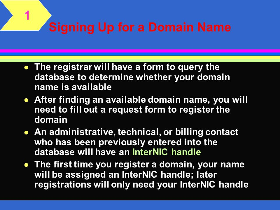Signing Up for a Domain Name