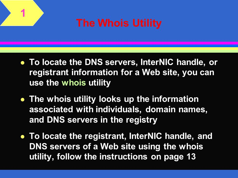 1 The Whois Utility. To locate the DNS servers, InterNIC handle, or registrant information for a Web site, you can use the whois utility.
