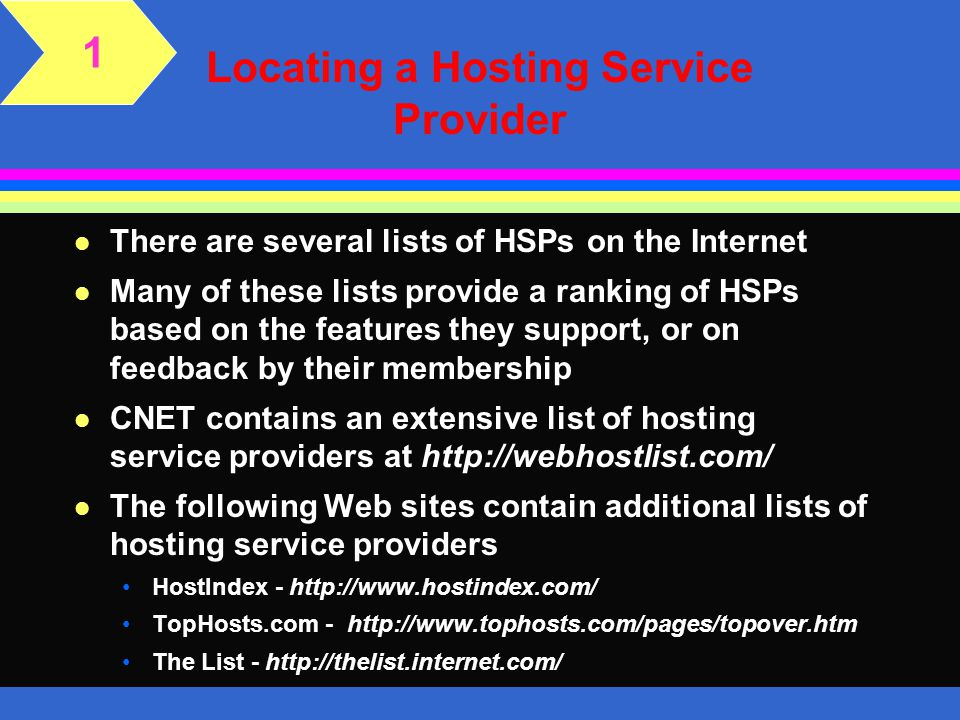 Locating a Hosting Service Provider