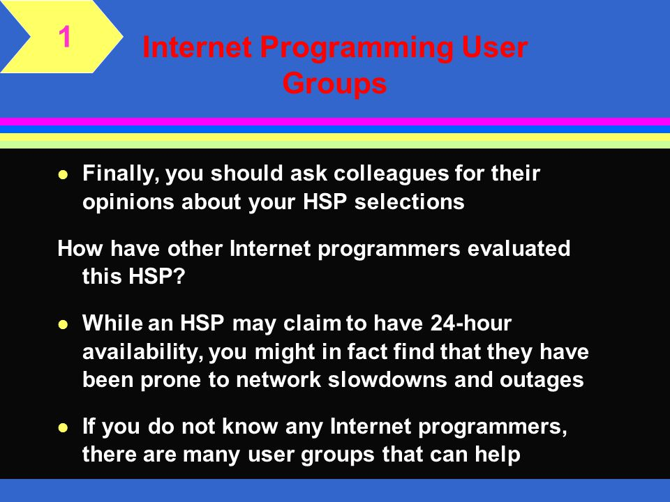 Internet Programming User Groups