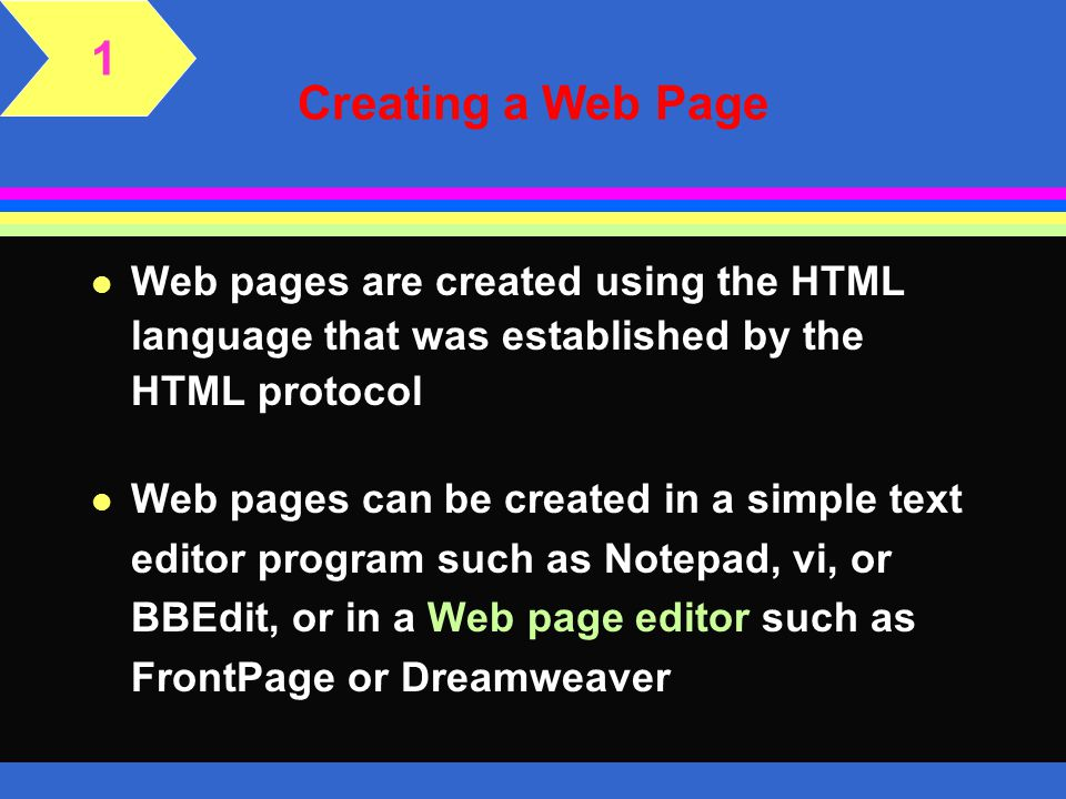 1 Creating a Web Page. Web pages are created using the HTML language that was established by the HTML protocol.