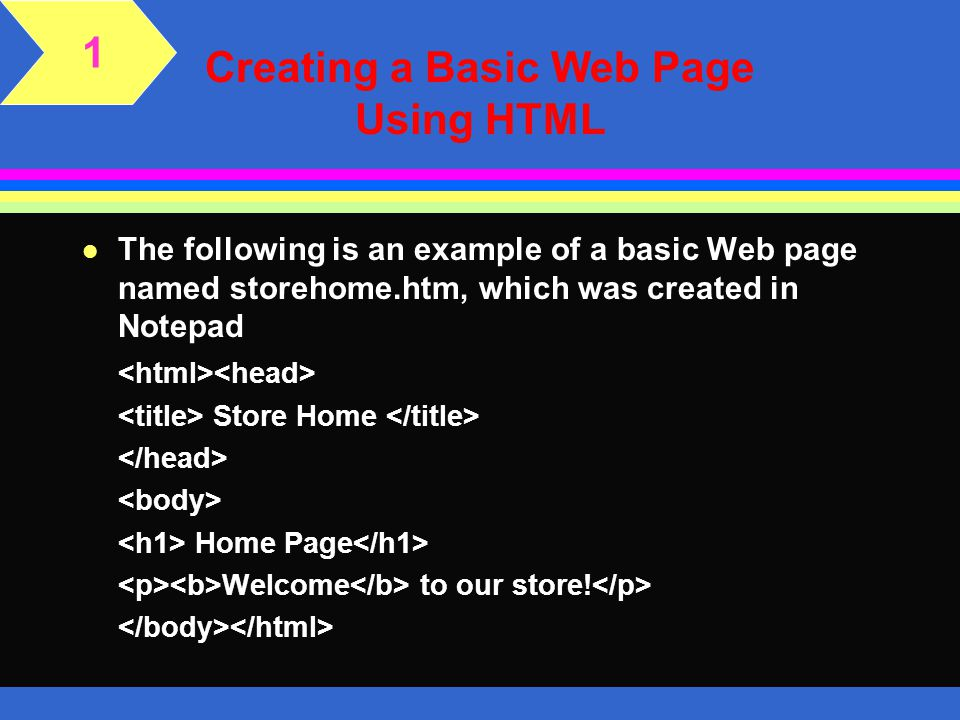 Creating a Basic Web Page Using HTML