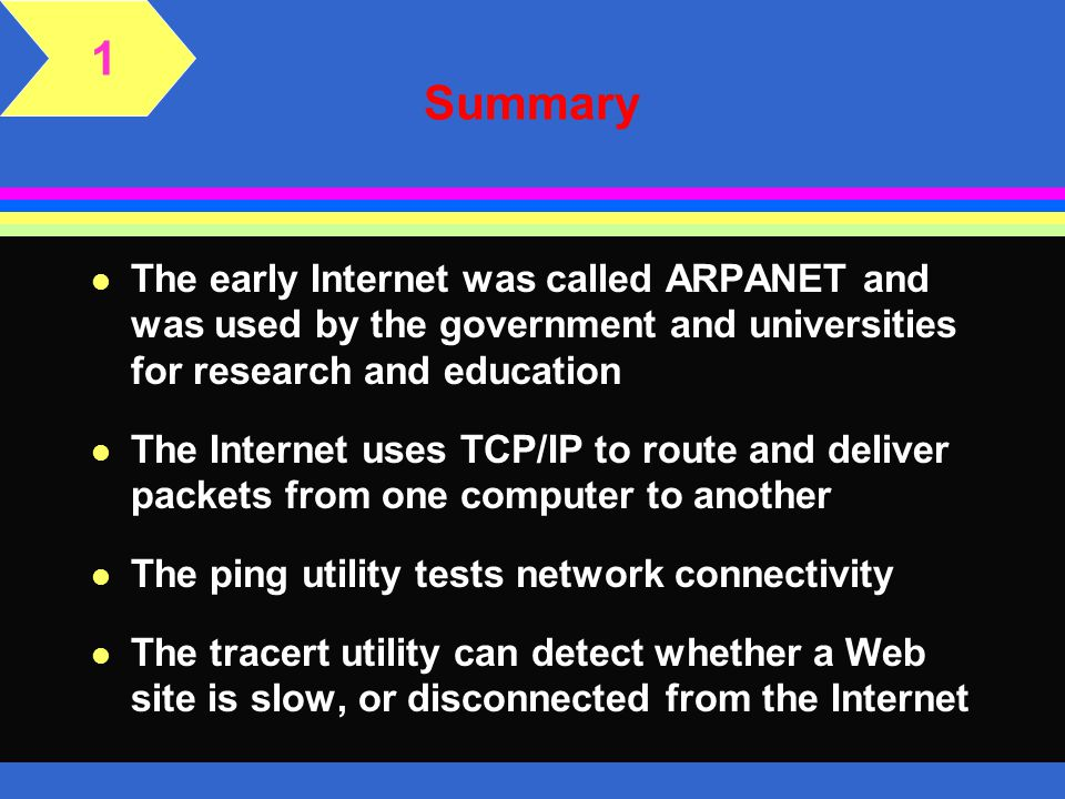 1 Summary. The early Internet was called ARPANET and was used by the government and universities for research and education.