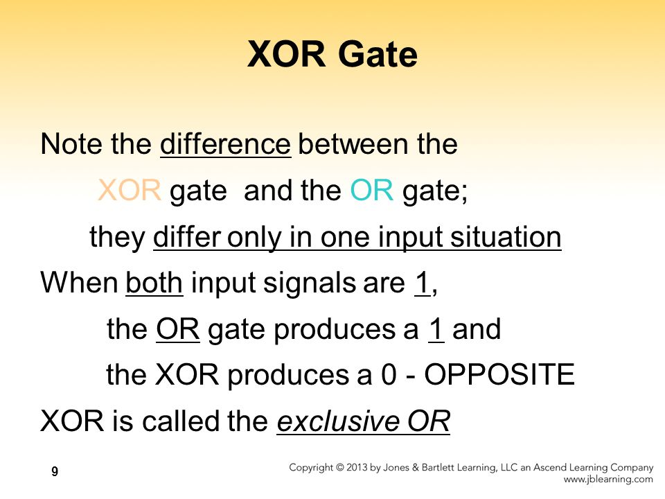 XOR Gate Note the difference between the XOR gate and the OR gate;