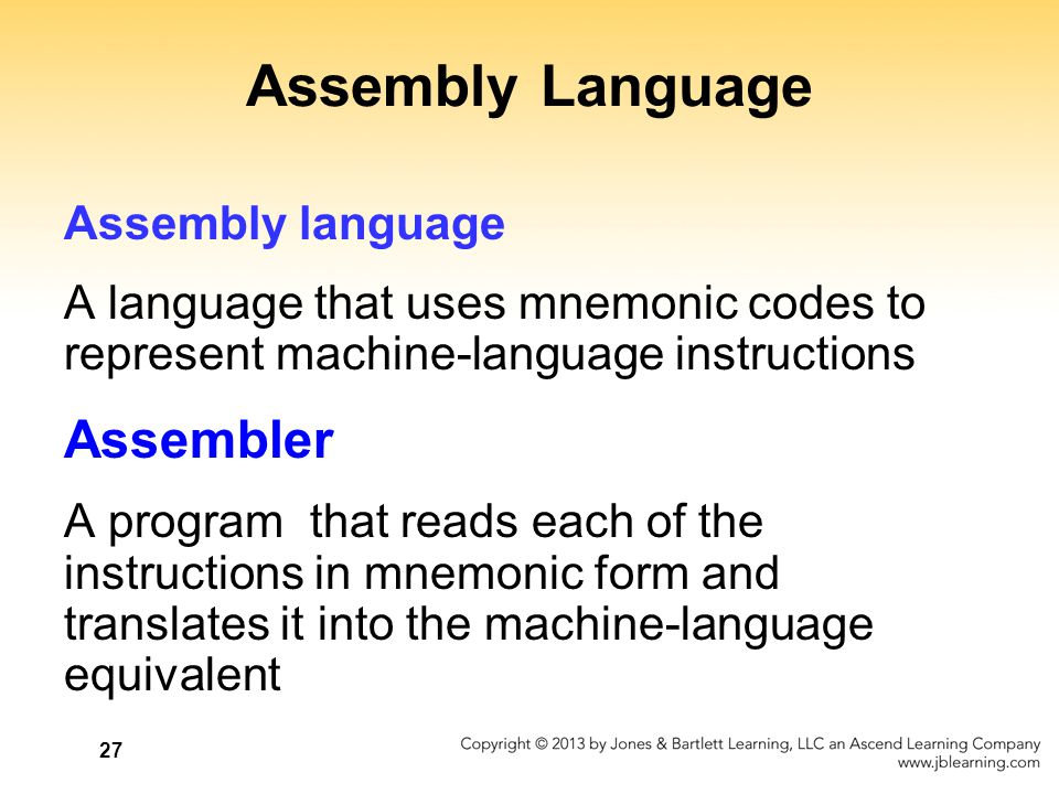 Assembly Language Assembler Assembly language