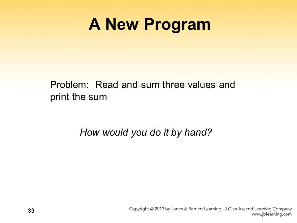 A New Program Problem: Read and sum three values and print the sum