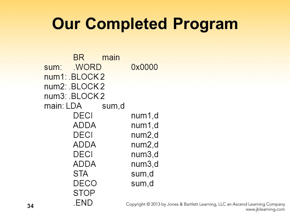 Our Completed Program BR main sum: .WORD 0x0000 num1: .BLOCK 2