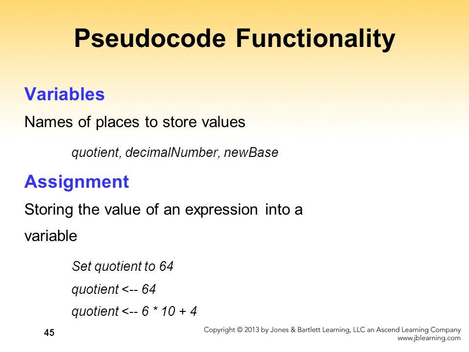Pseudocode Functionality