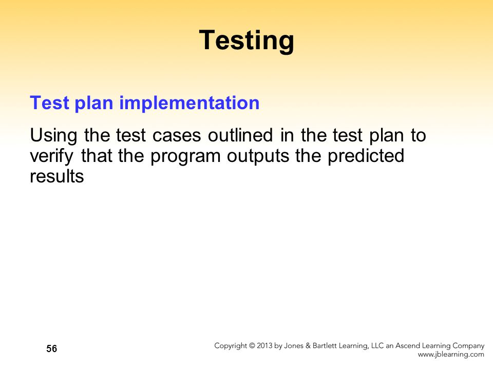 Testing Test plan implementation