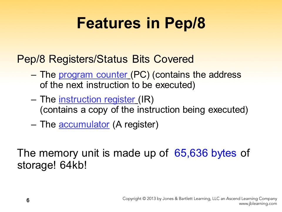 Features in Pep/8 Pep/8 Registers/Status Bits Covered