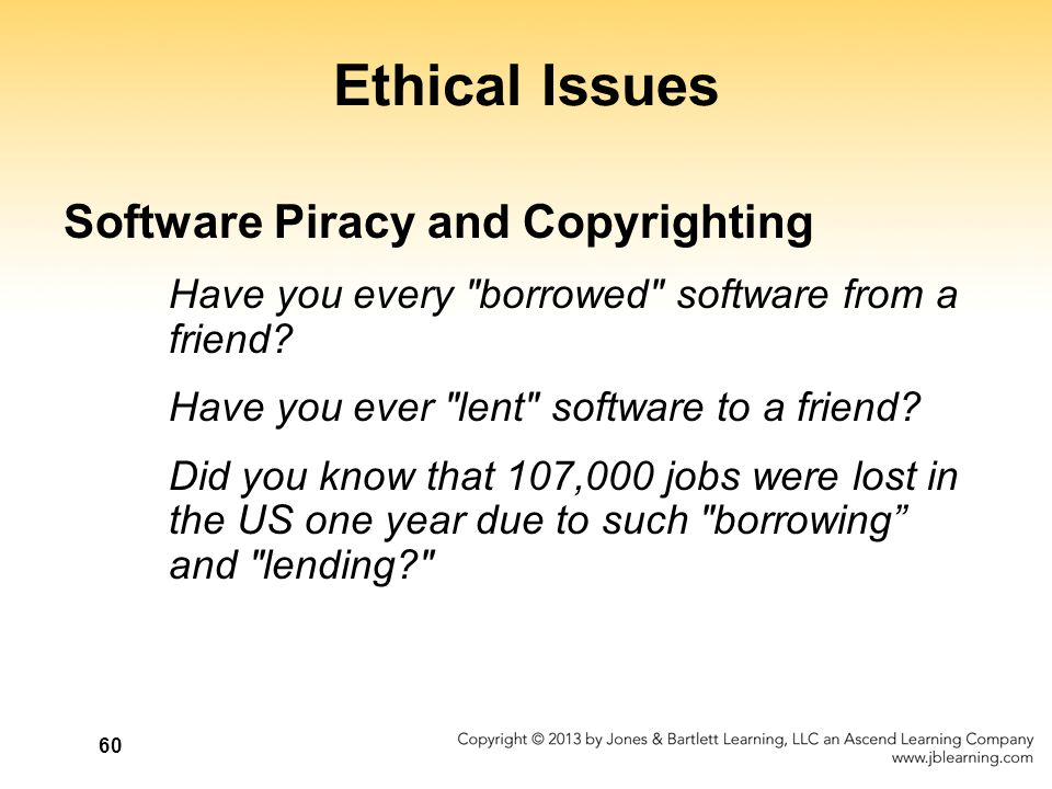ethical issues with the software piracy Understanding importance of computer ethics and software piracy protection computer ethics are increasingly becoming important because of the rising number of cyber crime issues, including software piracy, unauthorized access, pornography, spamming, target marketing, and hacking.