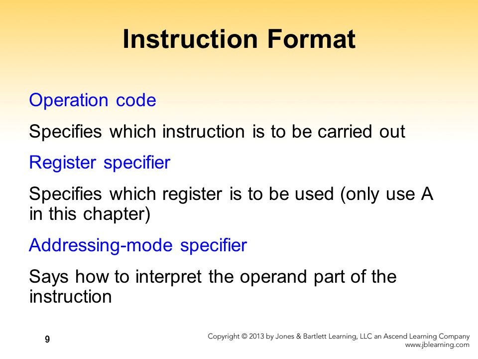 Instruction Format Operation code