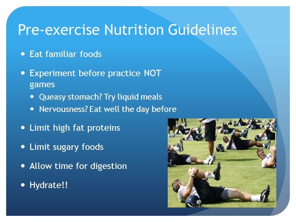 Pre-exercise Nutrition Guidelines