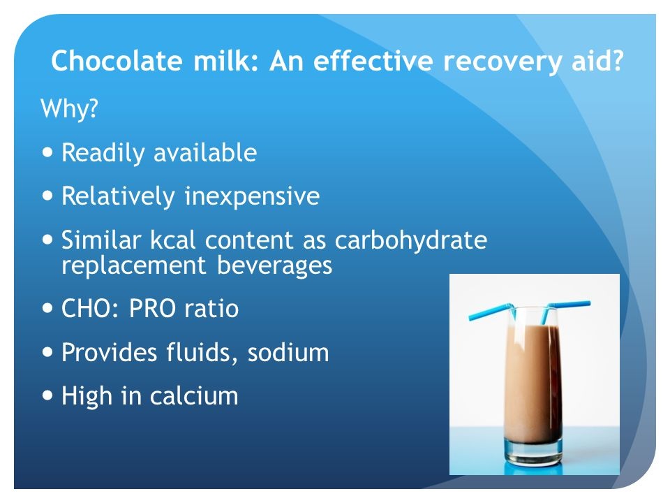 Chocolate milk: An effective recovery aid