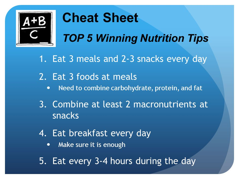 Cheat Sheet TOP 5 Winning Nutrition Tips