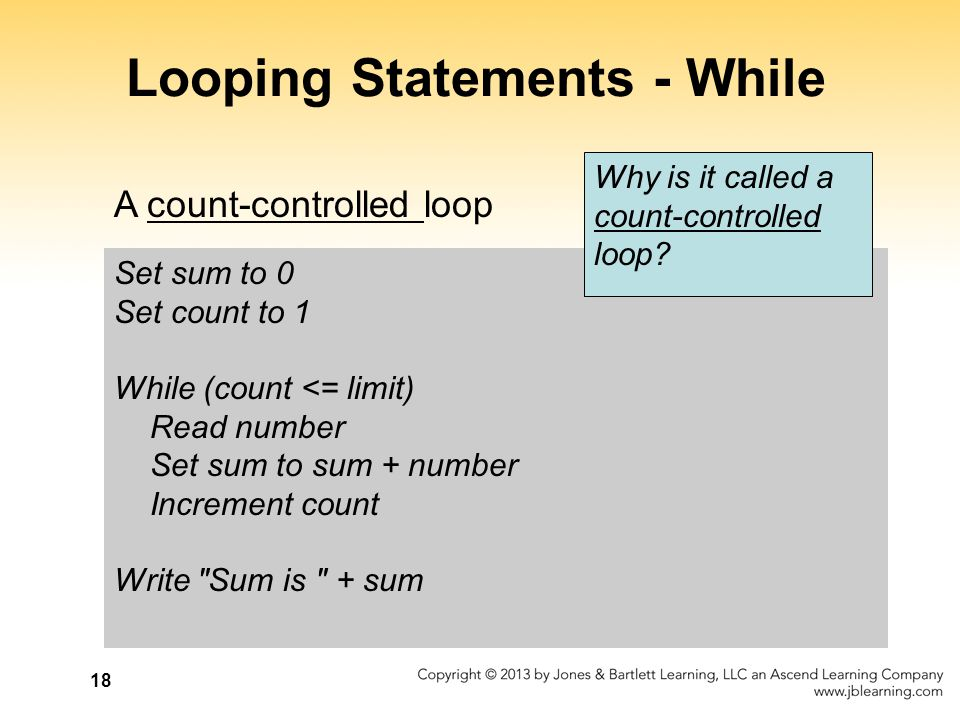 Looping Statements - While