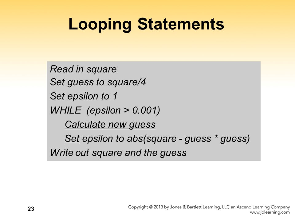 Looping Statements Read in square Set guess to square/4
