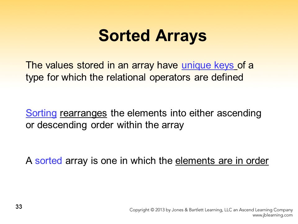 Sorted Arrays The values stored in an array have unique keys of a type for which the relational operators are defined.