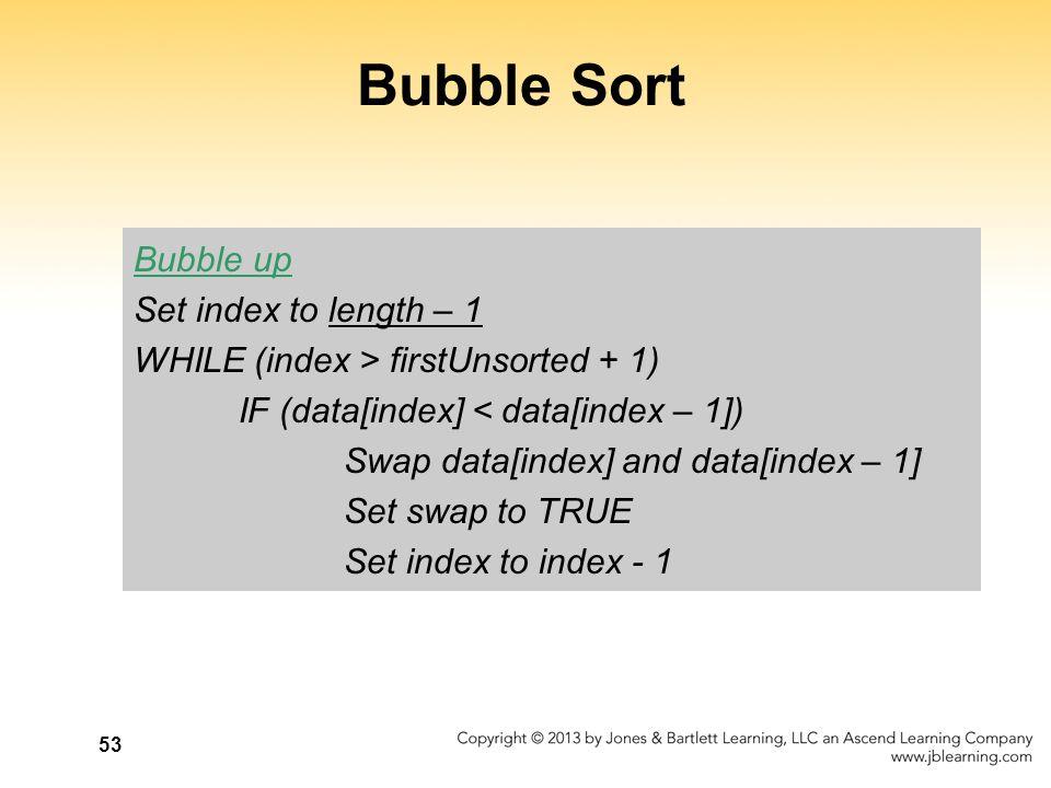 Bubble Sort Bubble up Set index to length – 1