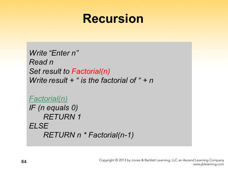 Recursion Write Enter n Read n Set result to Factorial(n)