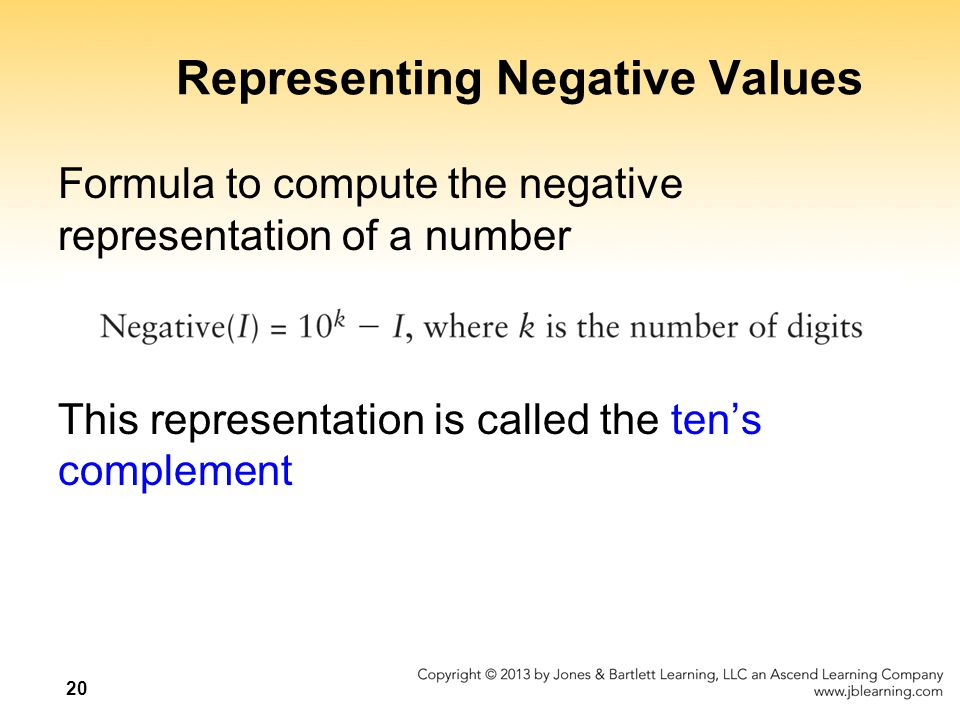 Representing Negative Values