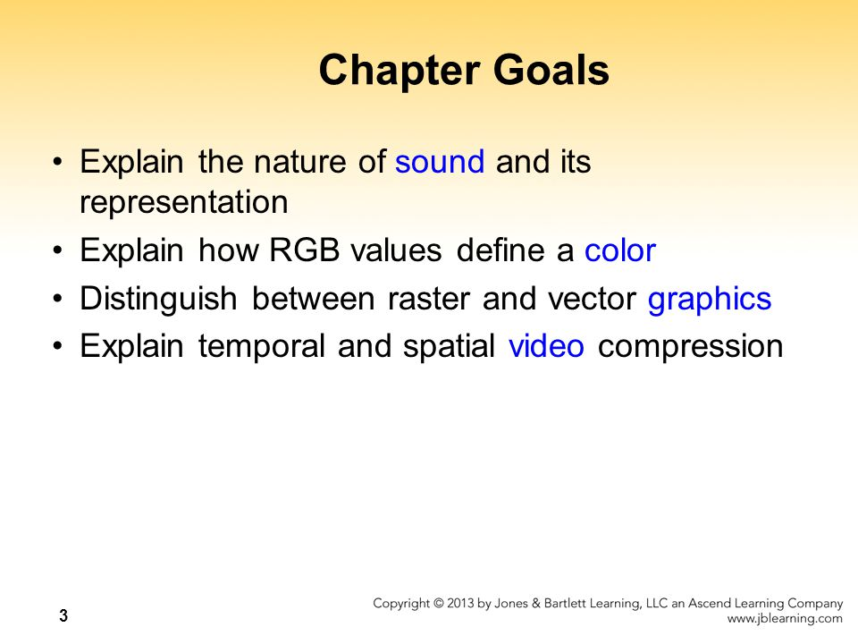 Chapter Goals Explain the nature of sound and its representation