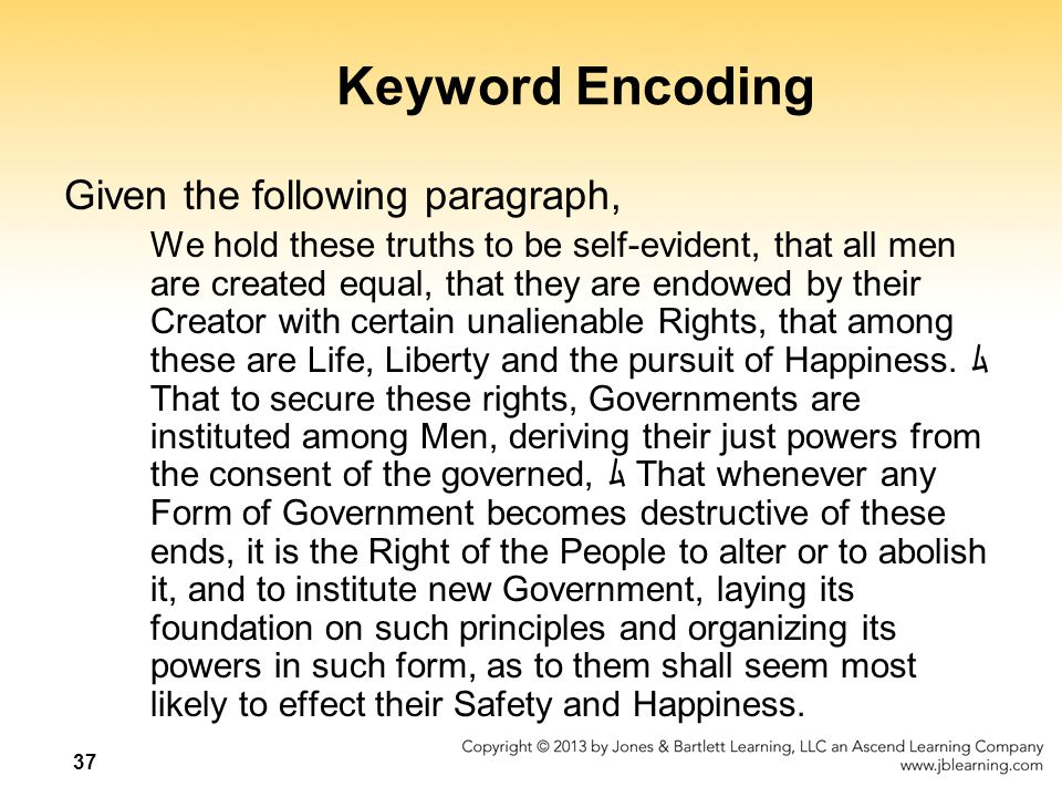 Keyword Encoding Given the following paragraph,