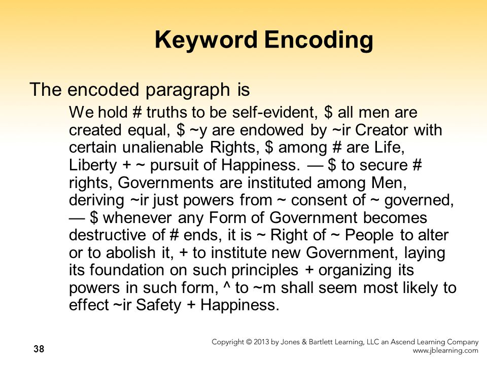 Keyword Encoding The encoded paragraph is