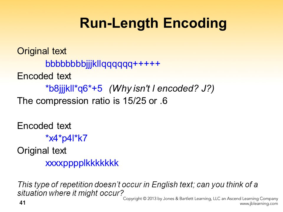 Run-Length Encoding Original text bbbbbbbbjjjkllqqqqqq+++++