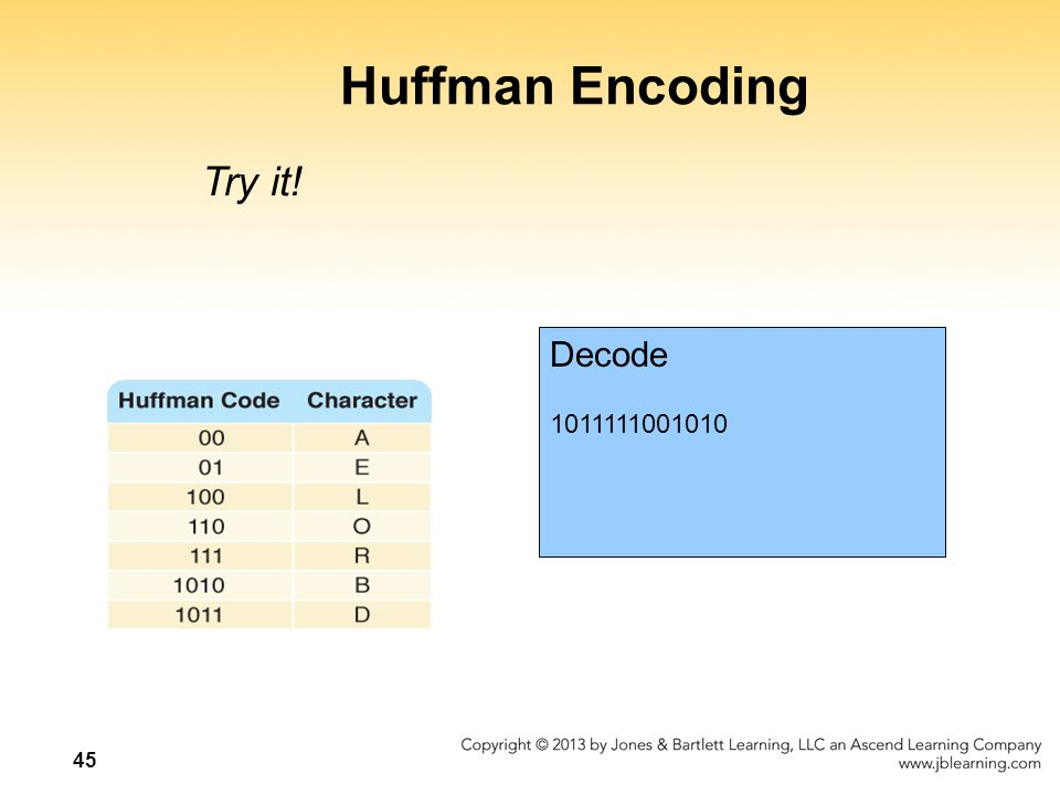 Huffman Encoding Try it! Decode 1011111001010
