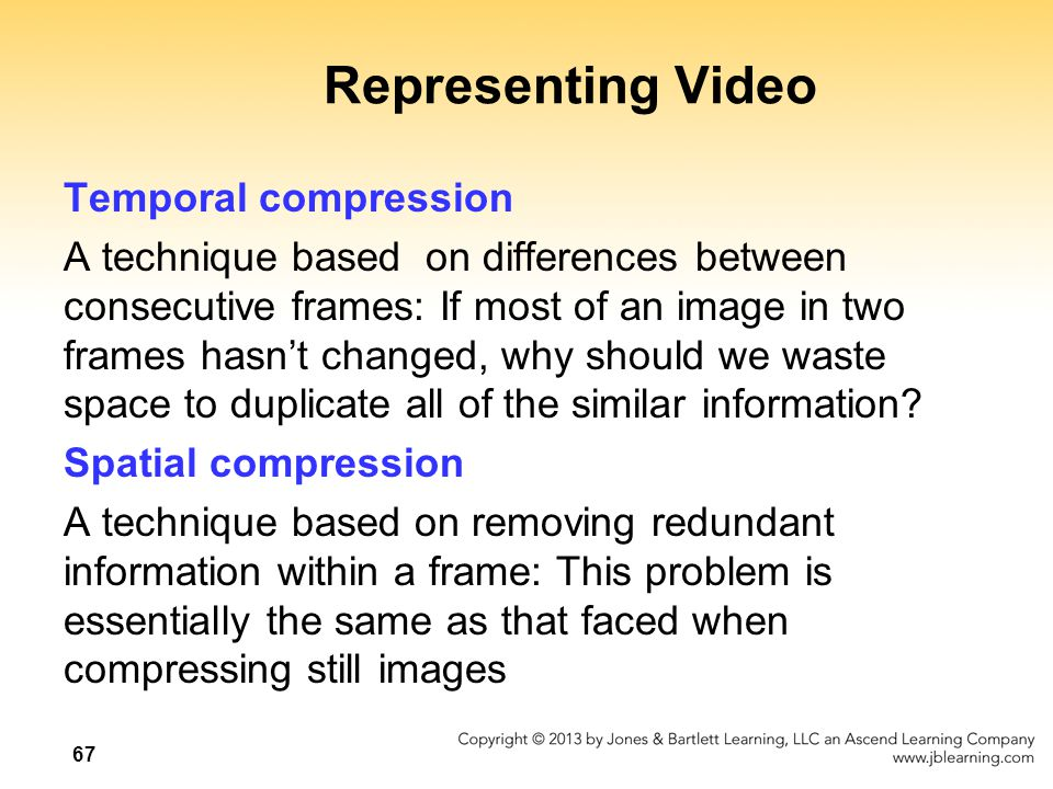 Representing Video Temporal compression