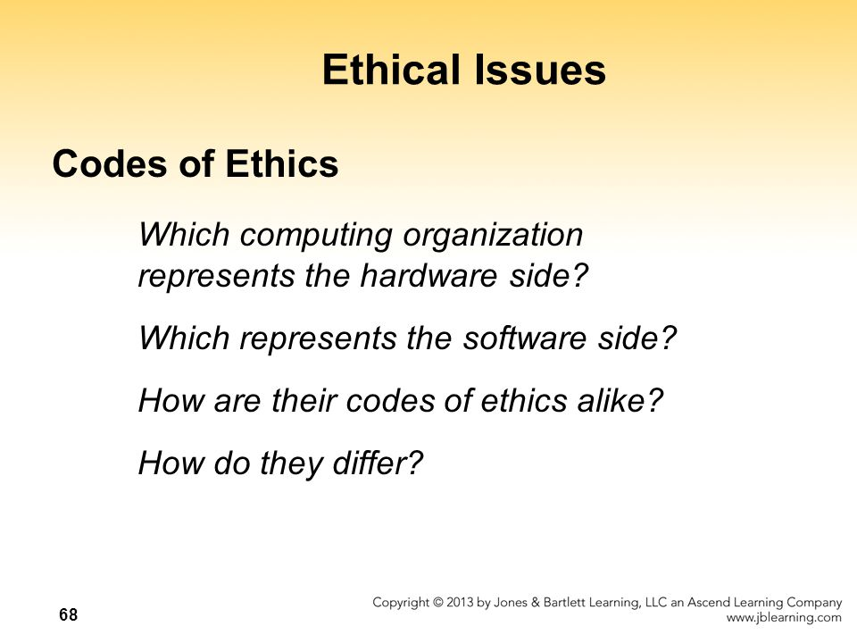 Ethical Issues Codes of Ethics