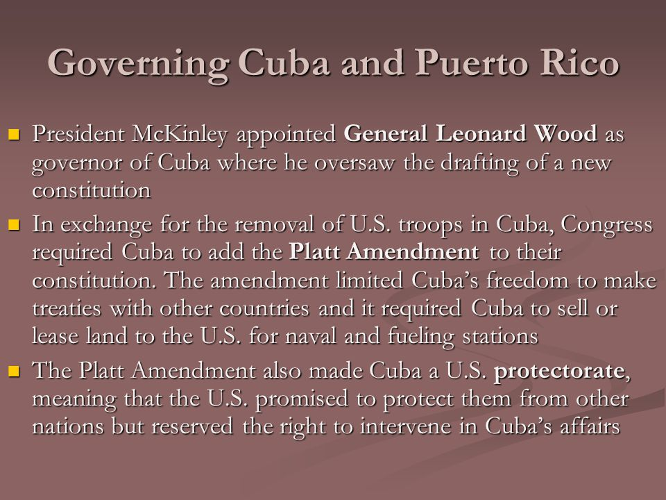 Governing Cuba and Puerto Rico