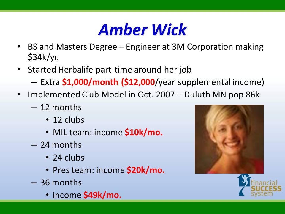 Amber Wick BS and Masters Degree – Engineer at 3M Corporation making $34k/yr. Started Herbalife part-time around her job.