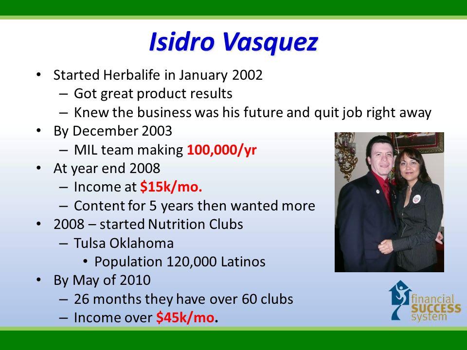 Isidro Vasquez Started Herbalife in January 2002