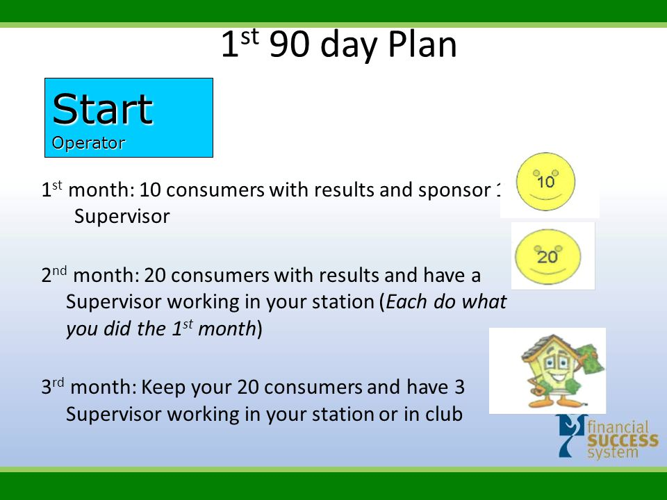1st 90 day Plan Start. Operator. 1st month: 10 consumers with results and sponsor 1 Supervisor.