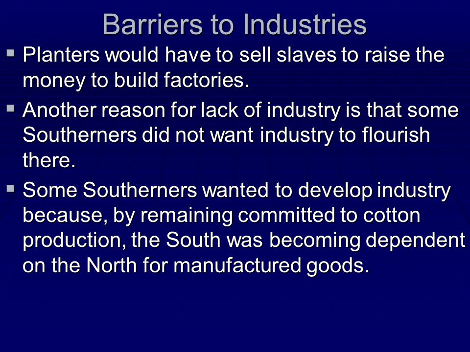 Barriers to Industries