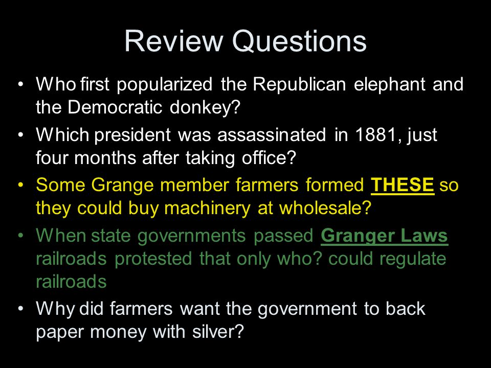 Review Questions Who first popularized the Republican elephant and the Democratic donkey