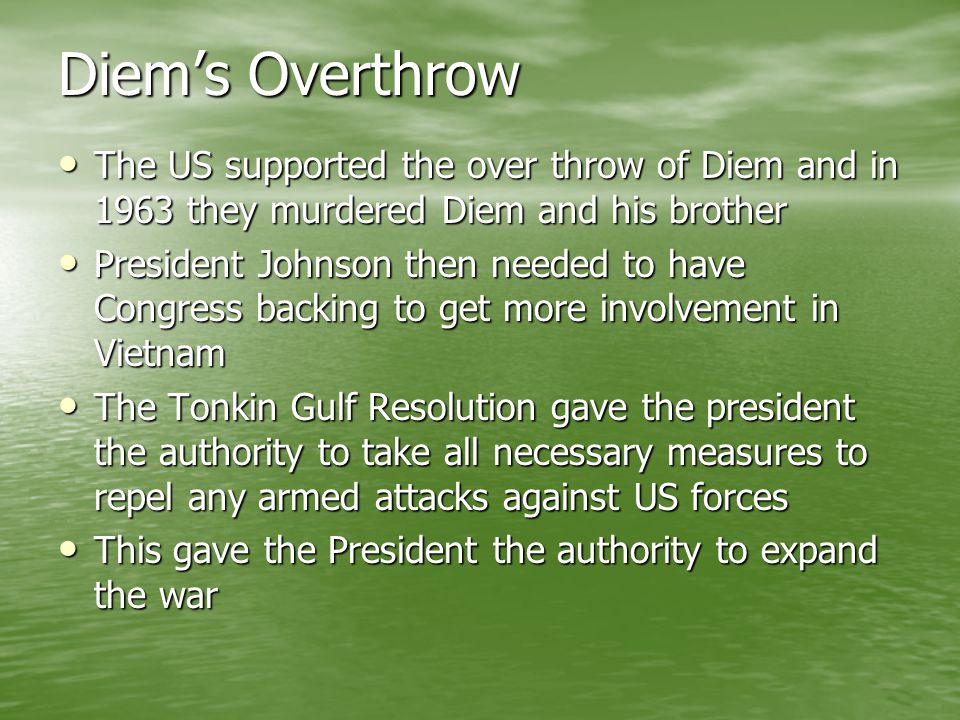 Diem's Overthrow The US supported the over throw of Diem and in 1963 they murdered Diem and his brother.