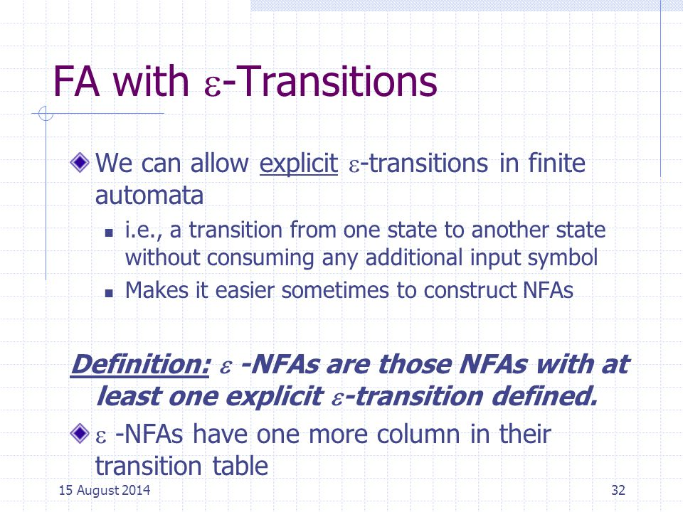 Cpt S 317: Spring 2009 FA with -Transitions. We can allow explicit -transitions in finite automata.