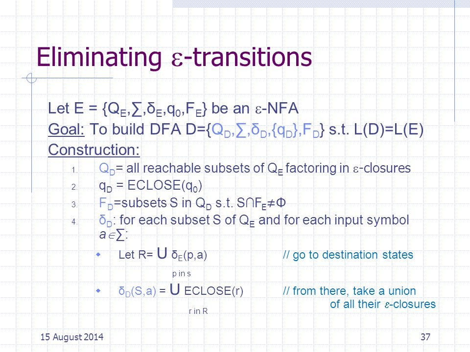 Eliminating -transitions